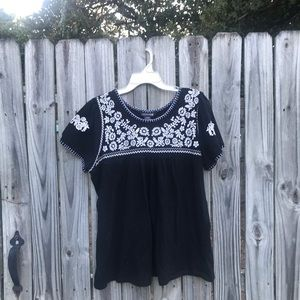 Large black and white blouse by Kristin Marie